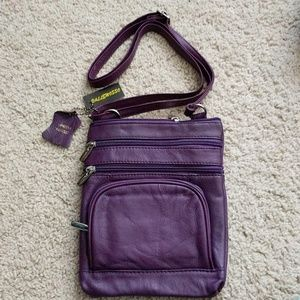 Handbags - Purple leather purse - perfect for travel & events